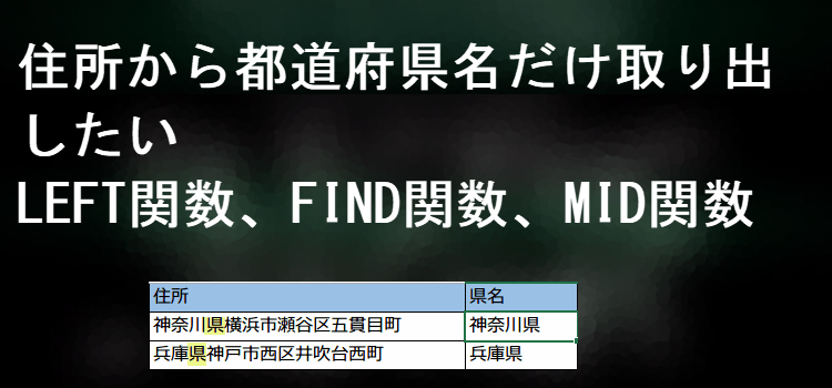 LEFT,FIND,MID関数