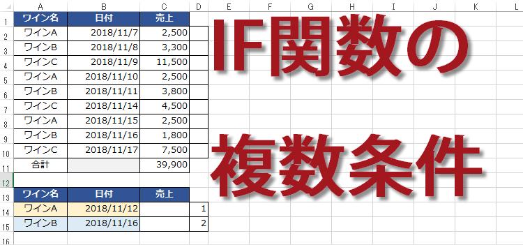 IF関数の複数条件ANDで使う、指定日以前の特定の商品売上を集計