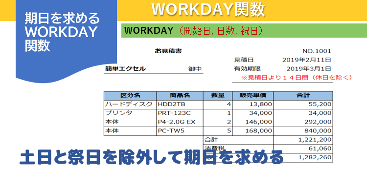 WORKDAY関数の書式と使用例の画像