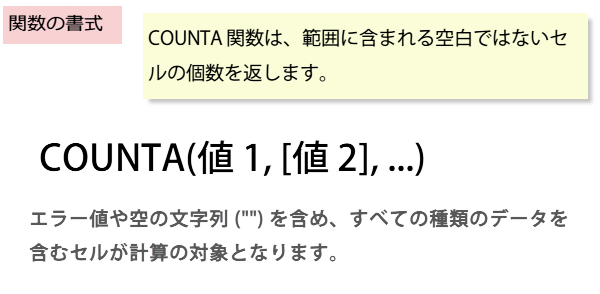 COUNTA関数の書式