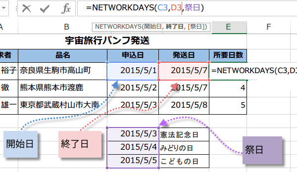 NETWORKDAYS関数の使い方4