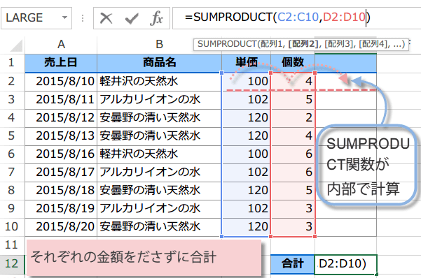 SUMPRODUCT関数の使い方2