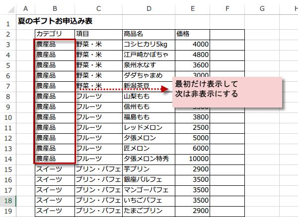 Excelのリストで前の行と同じ時は表示しない Excel 2013前の行と同じ項目名なら表示しない