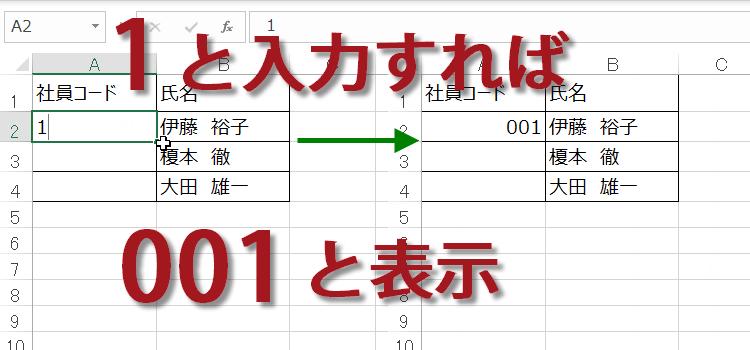 つける を 0 頭 エクセル に Excelで数字の頭に0をつける方法