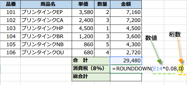 ROUNDDOWN関数3